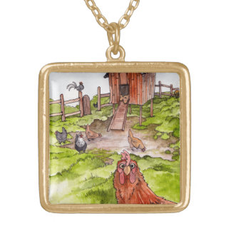 Chickens In The Backyard Gold Plated Necklace
