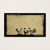 Chickens In The Barnyard- Prim Biz Cards