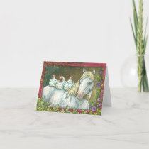 CHICKENS IN THE STABLE, HORSE NOTE CARD Blank