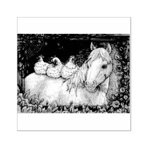 CHICKENS IN THE STABLE, HORSE RUBBER STAMP