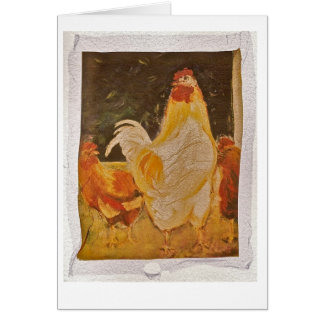Chickens in the yard greeting card
