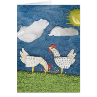 Chickens in the Yard - diorama picture Greeting Cards