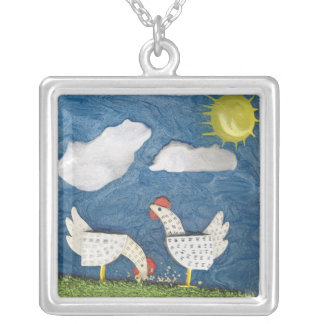 Chickens in the Yard - diorama picture Custom Necklace