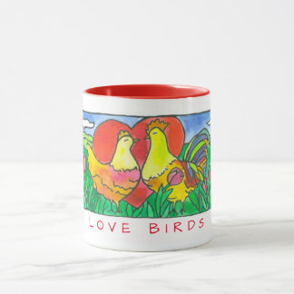 Chickens Love Birds Watercolor Red Mug