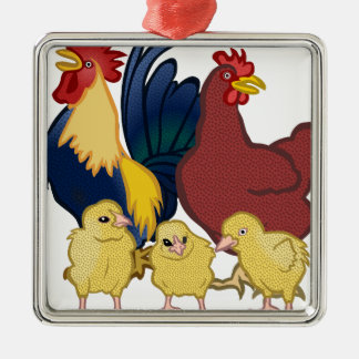 chickens metal ornament