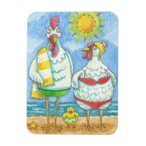 CHICKENS OF THE SEA, FUNNY CARTOON MAGNET Rect.