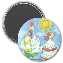 CHICKENS OF THE SEA, FUNNY CARTOON MAGNET Round