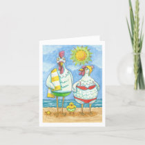 CHICKENS OF THE SEA, FUNNY CARTOON NOTE CARD Blank
