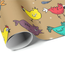 Chickens on christmas mood #gold wrapping paper