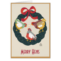Chickens on Christmas Wreath Card