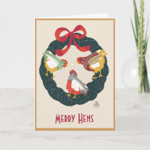 Chickens on Christmas Wreath Holiday Card