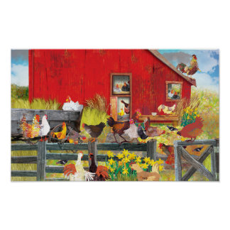 Chickens on the Farm Poster