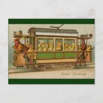Chickens on Trolley Car Vintage Easter Holiday Postcard