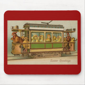 Chickens on Trolley Car Vintage Easter Mouse Pad