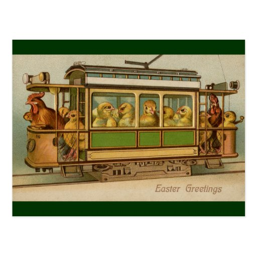Chickens on Trolley Car Vintage Easter Post Card