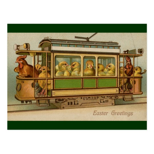 Chickens on Trolley Car Vintage Easter Postcard