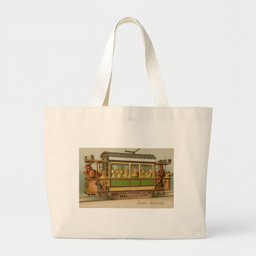 Chickens on Trolley Car Vintage Easter Tote Bags