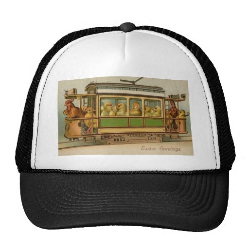 Chickens on Trolley Car Vintage Easter Trucker Hat