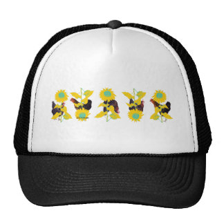 chickens play with sunflowers.png trucker hat