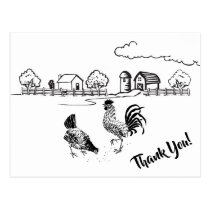 Chickens Rooster and Hen Charming Country Farm Postcard