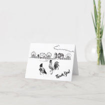 Chickens Rooster and Hen Charming Country Farm Thank You Card