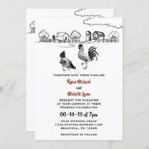 Chickens Rooster and Hen in Love Farm Wedding Invitation