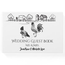 Chickens Rooster, Hen | Black, White Farm Wedding Guest Book