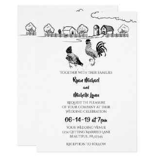 Chickens Rooster, Hen | Black, White Farm Wedding Invitation