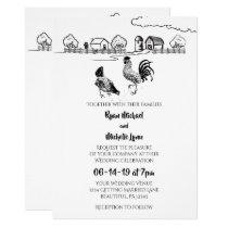 Chickens Rooster, Hen | Black, White Farm Wedding Invitation