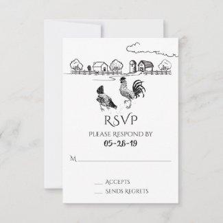 Chickens Rooster, Hen   Black, White Farm Wedding RSVP Card