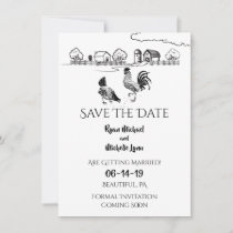 Chickens Rooster, Hen | Black, White Farm Wedding Save The Date