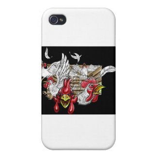 Chickens Roosters Hen House Hens Coop Farm Animals iPhone 4 Covers