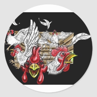 Chickens Roosters Hen House Hens Coop Farm Animals Classic Round Sticker