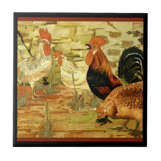 Chickens Roosters in the Farmyard Tile