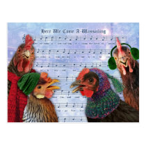 Chickens Singing Christmas Carols Postcard