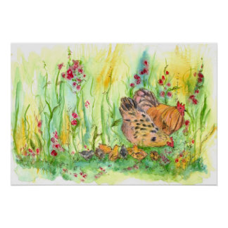 Chickens Watercolor Painting Hen Rooster Art Poster