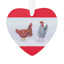 chickens wearing hat and scarf christmas seasonal ornament