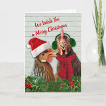 Chickens Wish You A Merry Christmas Card