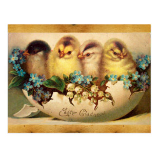 CHICKENS WITH FLOWERS  IN EASTER EGG PARCHMENT POSTCARD