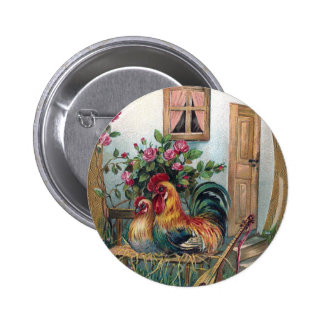 Chickens With Lute and Egg House Pinback Buttons