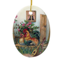Chickens With Lute and Egg House Ceramic Ornament