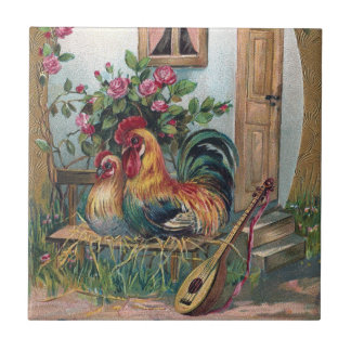 Chickens With Lute and Egg House Ceramic Tile