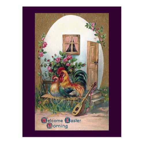 Chickens With Lute and Egg House Postcard