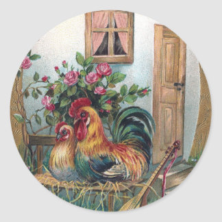 Chickens With Lute and Egg House Classic Round Sticker