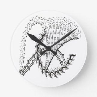 Chickenwheel Abstract Doodle Round Clock