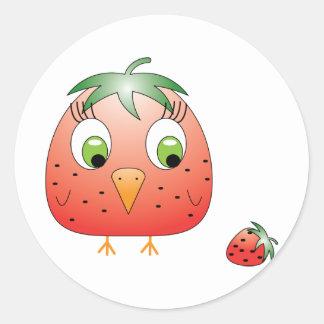 chickie B a Strawberry Classic Round Sticker