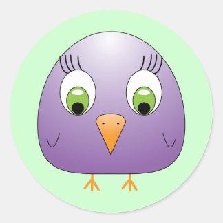 chickie B Purple Classic Round Sticker
