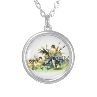 Chicks and Bunny easter holiday celebration egg Silver Plated Necklace