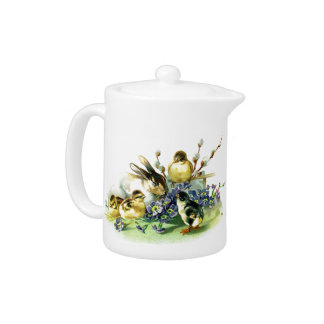Chicks and Bunny easter holiday celebration egg Teapot