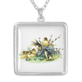 Chicks and Bunny Silver Plated Necklace